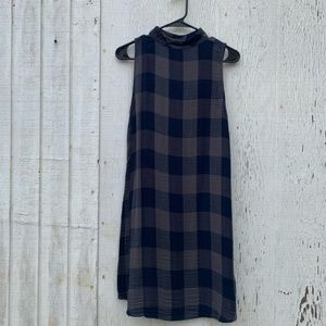 Cloth & Stone blue Plaid Halter Sleeveless Dress S